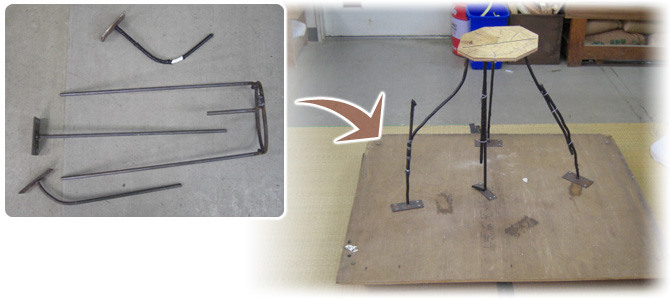 3.作品の格好(姿)を芯となる鉄筋等で制作