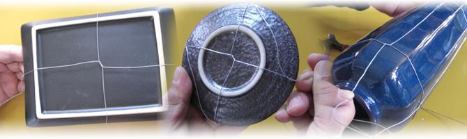 4.選んだ陶器類を針金で絡む