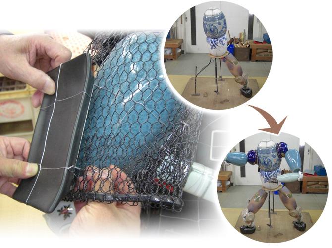 5.針金で絡んだ陶器を芯に取り付ける